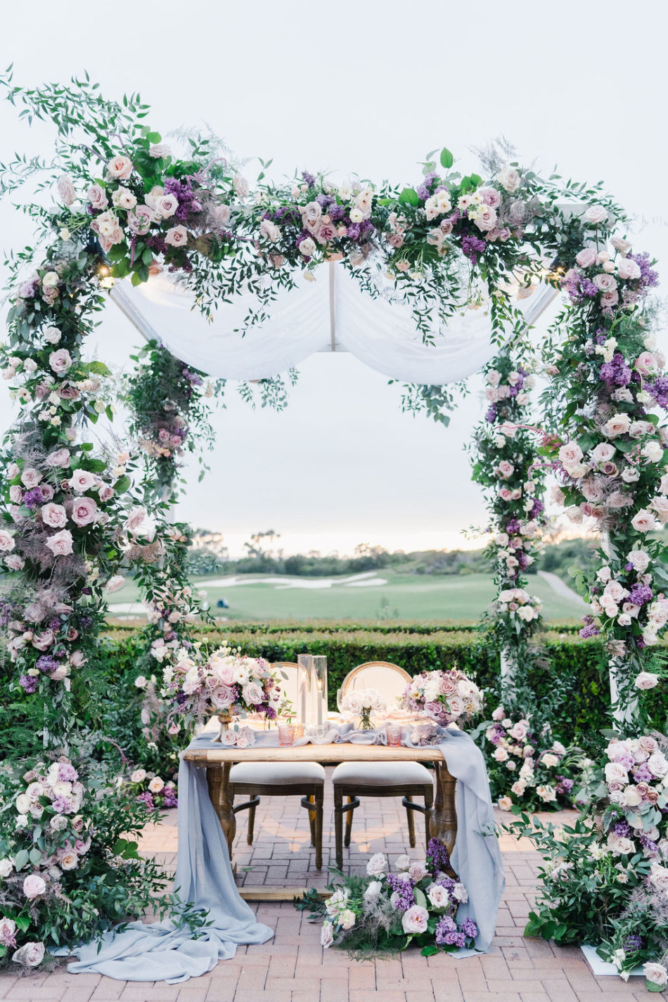 floral design, florist, wedding florist, wedding flowers, orange county weddings, orange county wedding florist, orange county florist, orange county floral design, flowers by cina, purple sweetheart table, purple floral arch, purple wedding blooms