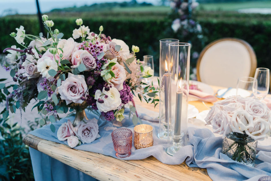 floral design, florist, wedding florist, wedding flowers, orange county weddings, orange county wedding florist, orange county florist, orange county floral design, flowers by cina, purple centerpiece, purple tabletop, purple tablescape details