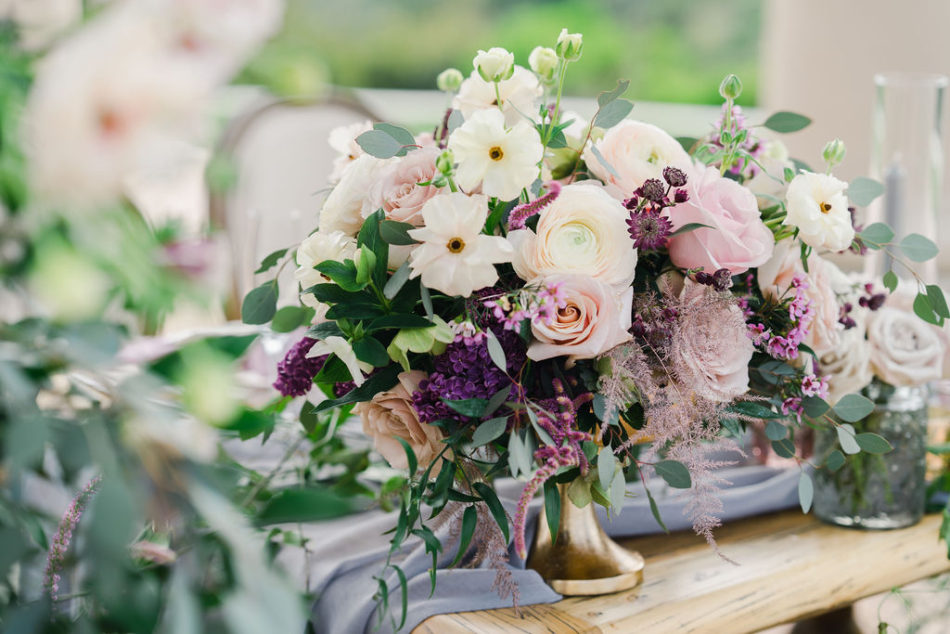 lilac centerpiece, purple centerpiece, purple blooms, floral design, florist, wedding florist, wedding flowers, orange county weddings, orange county wedding florist, orange county florist, orange county floral design, flowers by cina