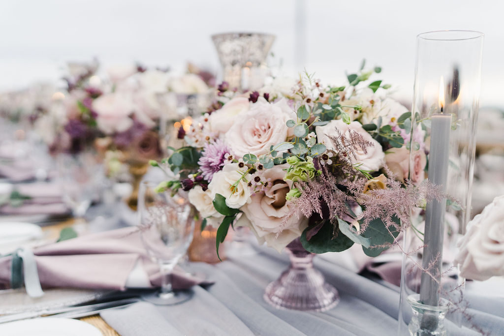 floral design, florist, wedding florist, wedding flowers, orange county weddings, orange county wedding florist, orange county florist, orange county floral design, flowers by cina, purple tablescape, purple tabletop, lilac centerpiece