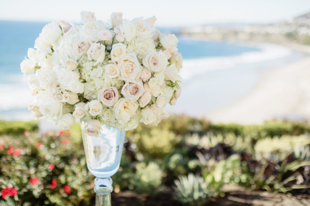 oceanside ceremony, ceremony florals, white ceremony florals, floral design, florist, wedding florist, wedding flowers, orange county weddings, orange county wedding florist, orange county florist, orange county floral design, flowers by cina