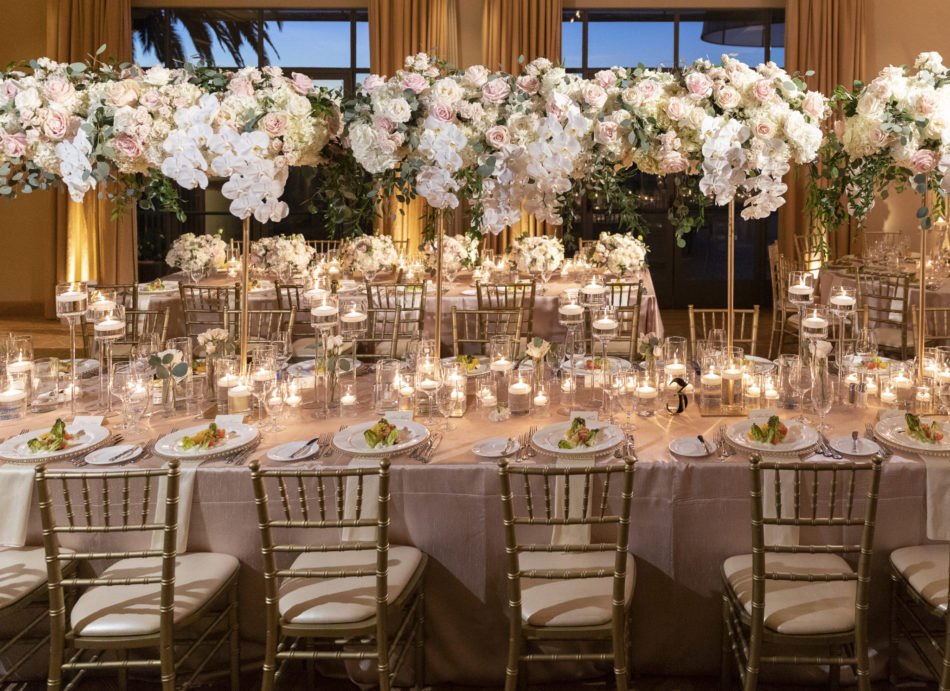 elevated centerpiece, blush blooms, gold chairs, floral design, florist, wedding florist, wedding flowers, orange county weddings, orange county wedding florist, orange county florist, orange county floral design, flowers by cina