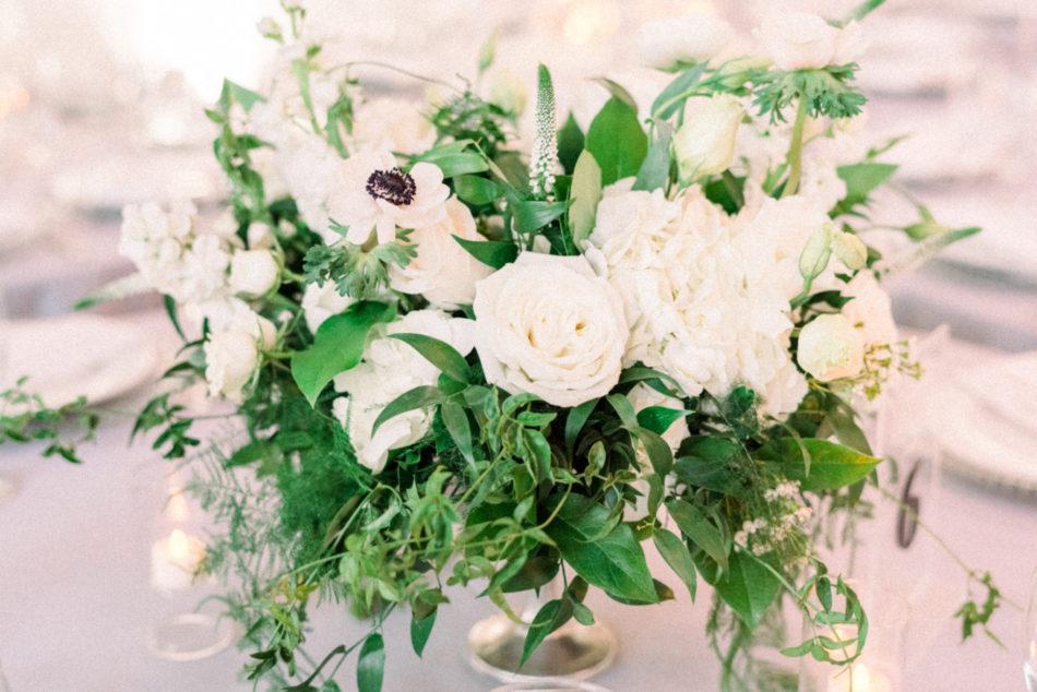 lush greenery, white blooms, white floral centerpiece, floral design, florist, wedding florist, wedding flowers, orange county weddings, orange county wedding florist, orange county florist, orange county floral design, flowers by cina