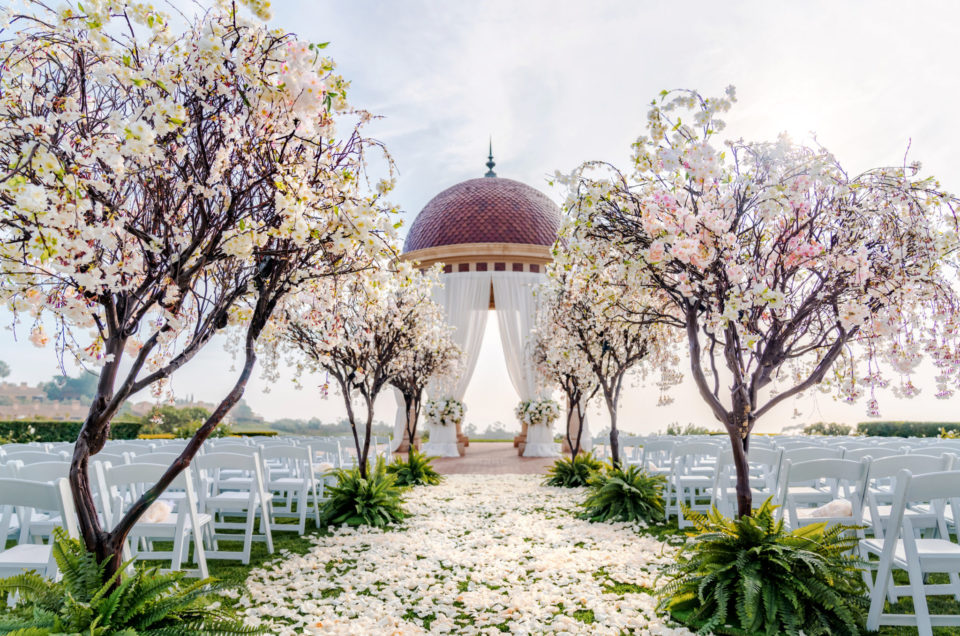 Sophisticated Golden Glamour at Floral-Filled Wedding in Newport Beach