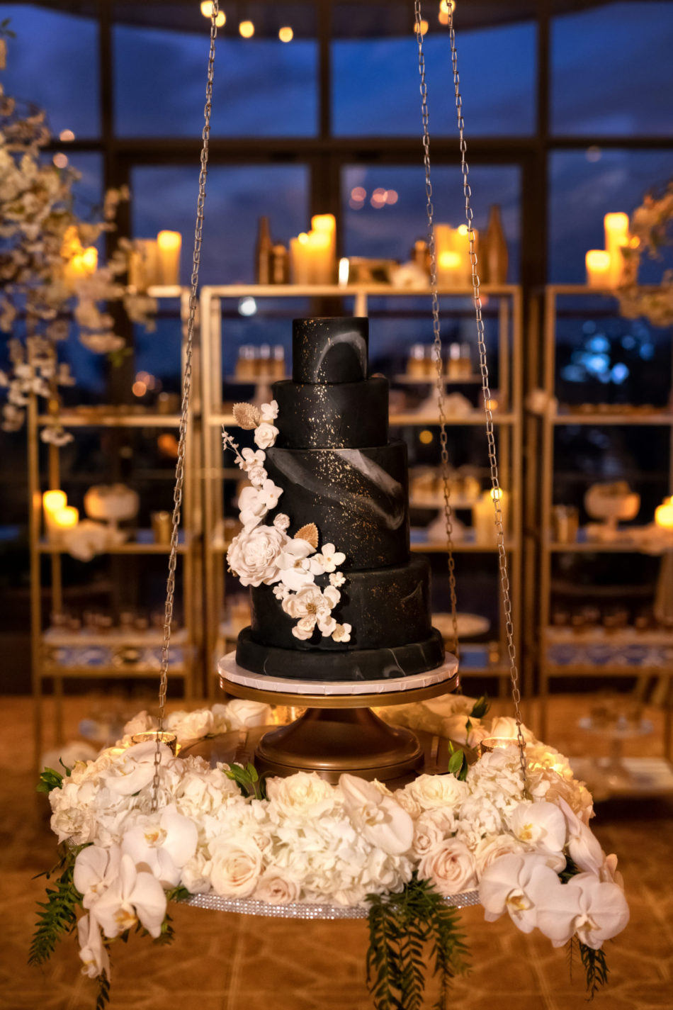 black wedding cake, black cake, black and white cake,floral design, florist, wedding florist, wedding flowers, orange county weddings, orange county wedding florist, orange county florist, orange county floral design, flowers by cina
