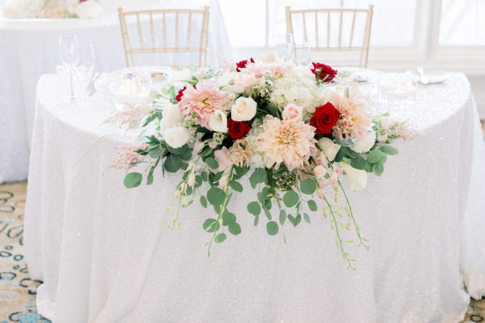sweetheart table, blush and red florals, red sweetheart table, floral design, florist, wedding florist, wedding flowers, orange county weddings, orange county wedding florist, orange county florist, orange county floral design, flowers by cina
