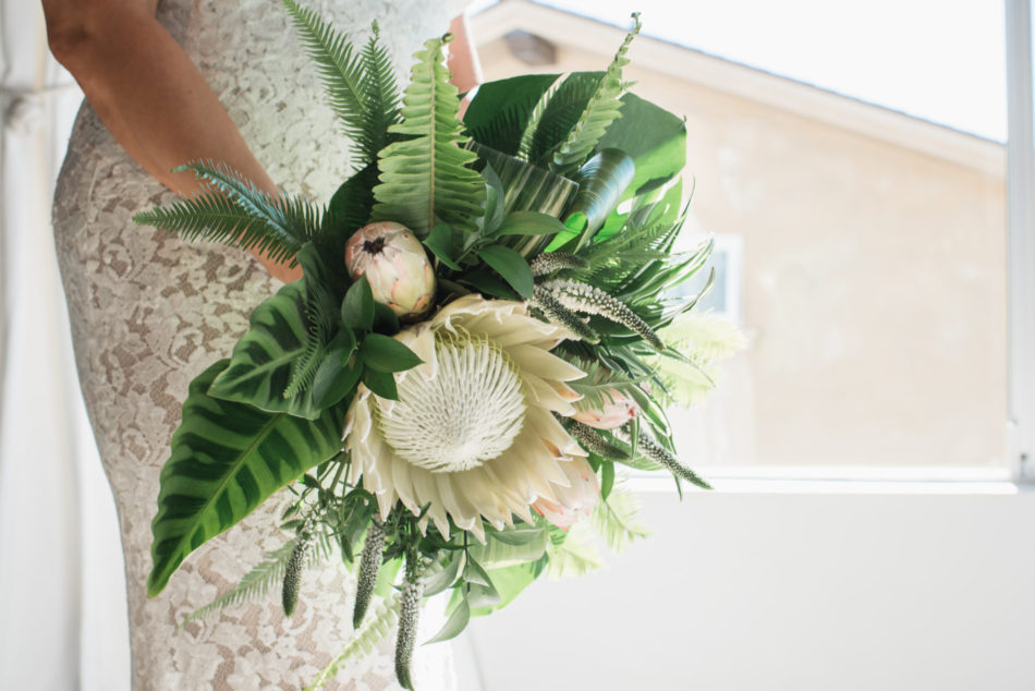 tropical bouquet, modern bridal bouquet, lush bouquet, floral design, florist, wedding florist, wedding flowers, orange county weddings, orange county wedding florist, orange county florist, orange county floral design, flowers by cina