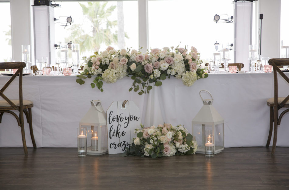 blush sweetheart table, sweetheart table, romantic sweetheart table, floral design, florist, wedding florist, wedding flowers, orange county weddings, orange county wedding florist, orange county florist, orange county floral design, flowers by cina