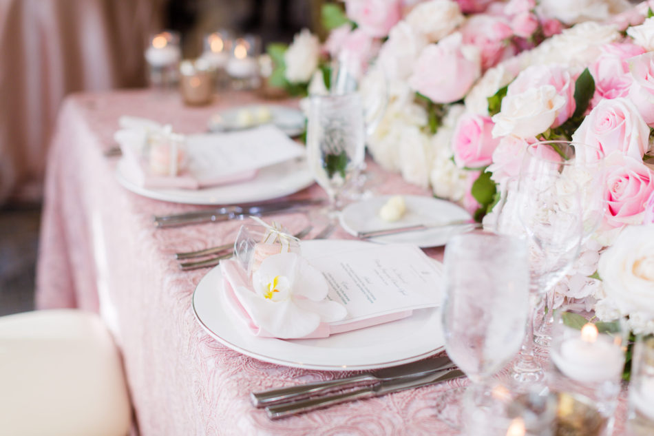 pink tabletop, pink linens, pink centerpiece, floral design, florist, wedding florist, wedding flowers, orange county weddings, orange county wedding florist, orange county florist, orange county floral design, flowers by cina