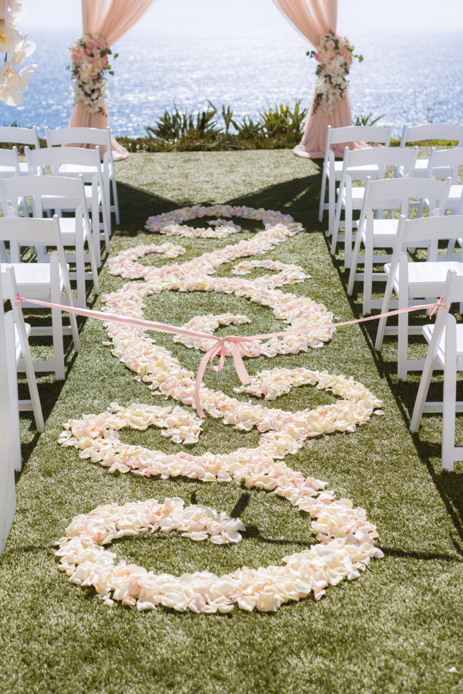 pink aisle petals, pink petals, aisle petals, floral design, florist, wedding florist, wedding flowers, orange county weddings, orange county wedding florist, orange county florist, orange county floral design, flowers by cina