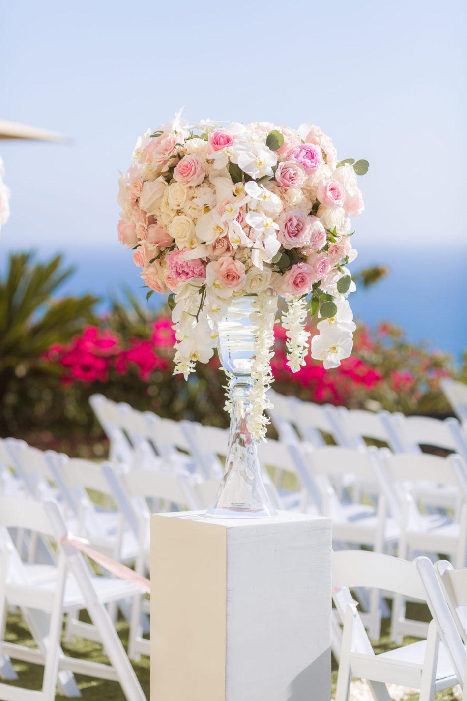 pink ceremony florals, pink ceremony decor, oceanfront wedding, floral design, florist, wedding florist, wedding flowers, orange county weddings, orange county wedding florist, orange county florist, orange county floral design, flowers by cina