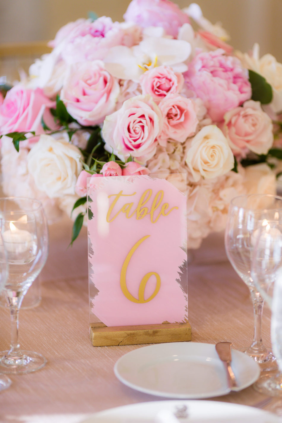 pink and gold decor, pink table number, pink centerpiece, floral design, florist, wedding florist, wedding flowers, orange county weddings, orange county wedding florist, orange county florist, orange county floral design, flowers by cina