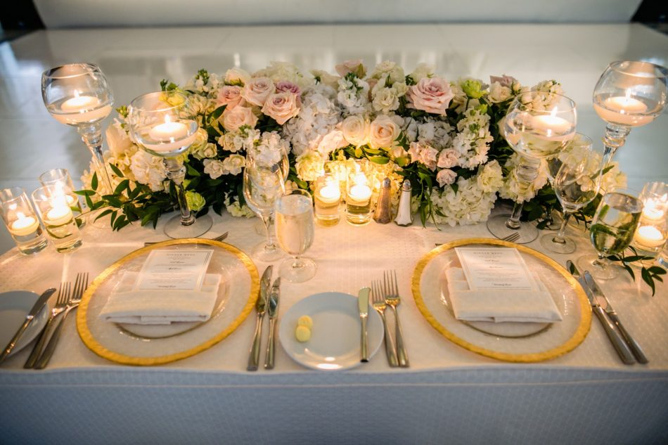 enchanted oceanfront wedding, blush sweetheart table, blush centerpiece, gold and blush tabletop, floral design, florist, wedding florist, wedding flowers, orange county weddings, orange county wedding florist, orange county florist, orange county floral design, flowers by cina