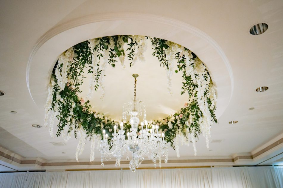 enchanted oceanfront wedding, floral ceiling decor, white ceiling blooms, floral chandelier, floral design, florist, wedding florist, wedding flowers, orange county weddings, orange county wedding florist, orange county florist, orange county floral design, flowers by cina