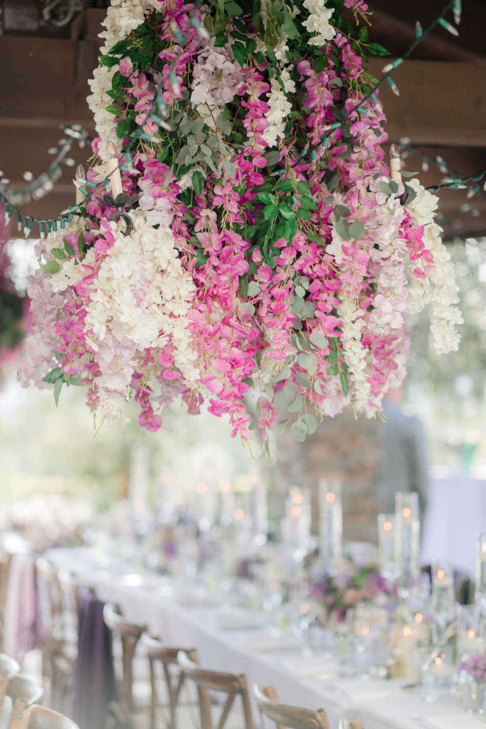 pink floral ceiling, outdoor reception, pink floral decor, floral design, florist, wedding florist, wedding flowers, orange county weddings, orange county wedding florist, orange county florist, orange county floral design, flowers by cina