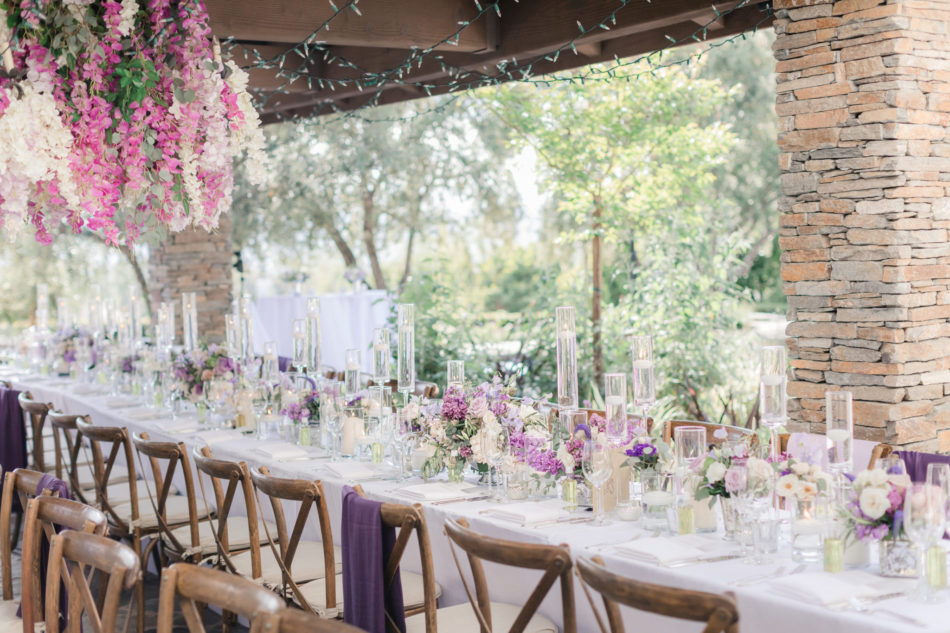 outdoor reception, lavender reception, purple tabletop, floral design, florist, wedding florist, wedding flowers, orange county weddings, orange county wedding florist, orange county florist, orange county floral design, flowers by cina