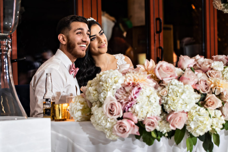 sweetheart table, bride and groom, newlyweds, floral design, florist, wedding florist, wedding flowers, orange county weddings, orange county wedding florist, orange county florist, orange county floral design, flowers by cina