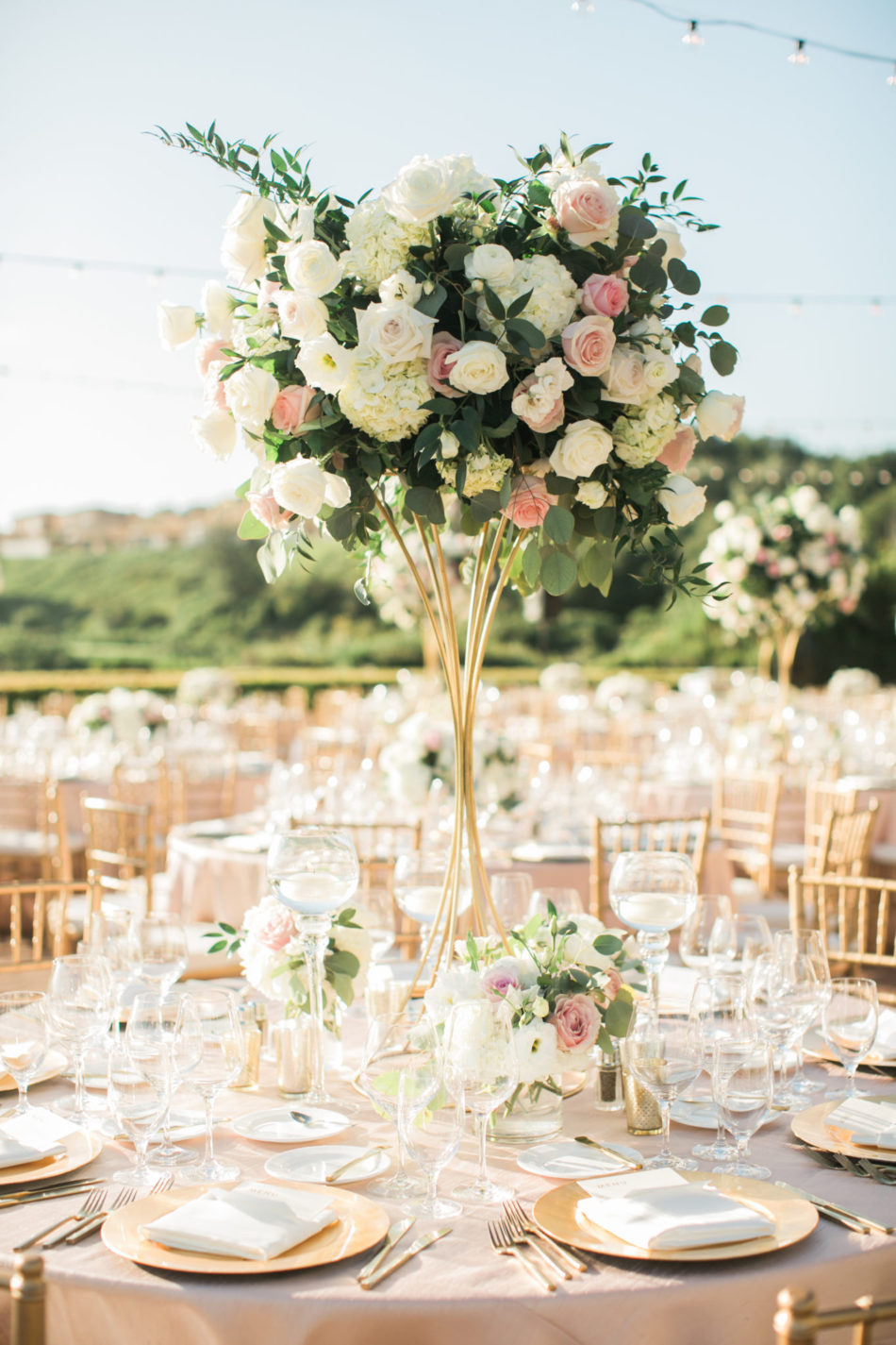 blush reception decor, blush centerpiece, elevated florals, floral design, florist, wedding florist, wedding flowers, orange county weddings, orange county wedding florist, orange county florist, orange county floral design, flowers by cina