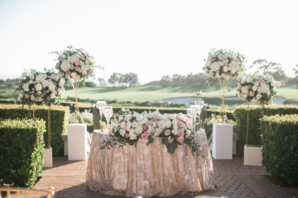 sweetheart table, blush sweetheart table, pink sweetheart table, floral design, florist, wedding florist, wedding flowers, orange county weddings, orange county wedding florist, orange county florist, orange county floral design, flowers by cina