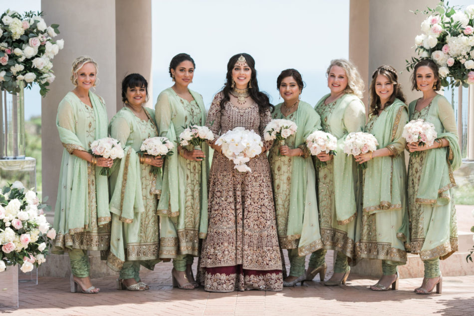indian fusion wedding, green bridesmaid dresses, bridesmaids, green bridesmaid dresses, floral design, florist, wedding florist, wedding flowers, orange county weddings, orange county wedding florist, orange county florist, orange county floral design, flowers by cina