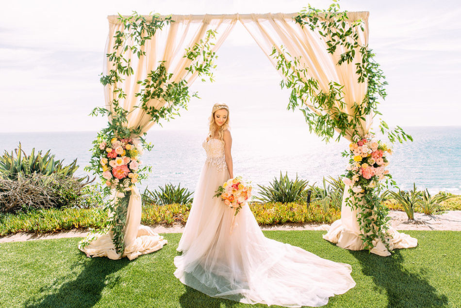 inside weddings feature, bride, floral arch, floral design, florist, wedding florist, wedding flowers, orange county weddings, orange county wedding florist, orange county florist, orange county floral design, flowers by cina