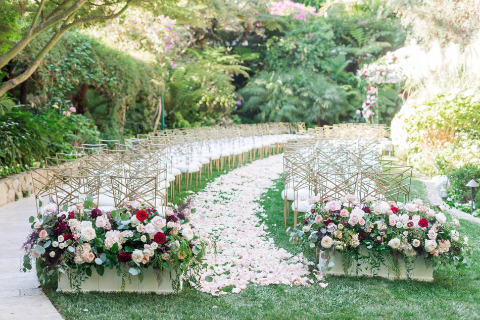 petal-filled aisle, red and pink ceremony decor, colorful wedding ceremony, floral design, florist, wedding florist, wedding flowers, orange county weddings, orange county wedding florist, orange county florist, orange county floral design, flowers by cina