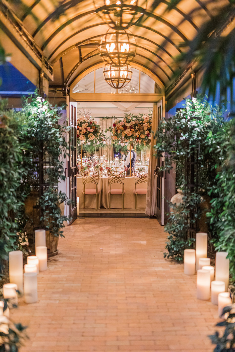 reception entrance, wedding reception, luxury entrance, floral design, florist, wedding florist, wedding flowers, orange county weddings, orange county wedding florist, orange county florist, orange county floral design, flowers by cina