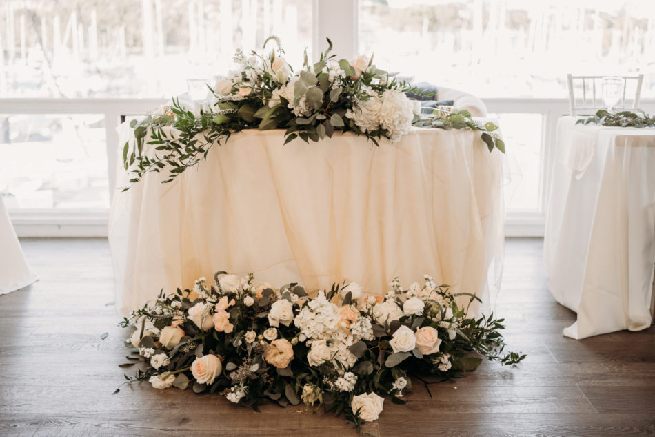 sweetheart table, blush sweetheart table, floral-filled sweetheart table, floral design, florist, wedding florist, wedding flowers, orange county weddings, orange county wedding florist, orange county florist, orange county floral design, flowers by cina