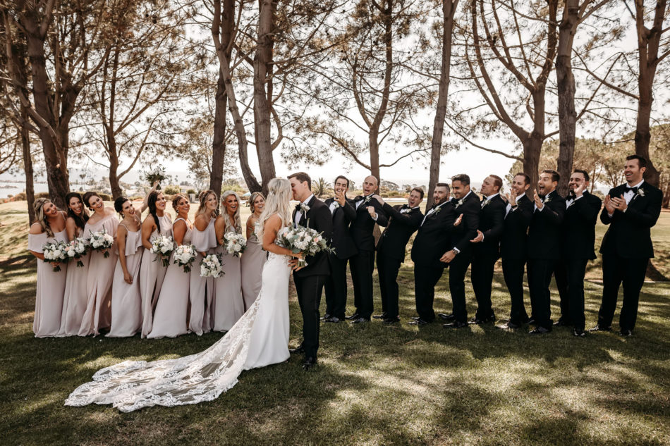 bridal party, bride and groom, first kiss, floral design, florist, wedding florist, wedding flowers, orange county weddings, orange county wedding florist, orange county florist, orange county floral design, flowers by cina