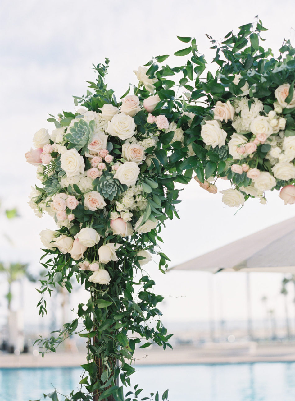 romantic waterfront wedding, blush floral arch, romantic floral arch, floral design, florist, wedding florist, wedding flowers, orange county weddings, orange county wedding florist, orange county florist, orange county floral design, flowers by cina