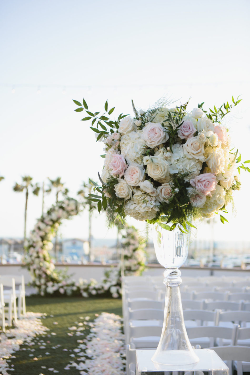classic blue hued wedding, blush reception florals, elevated floral arrangement, beautiful coastal wedding, floral design, florist, wedding florist, wedding flowers, orange county weddings, orange county wedding florist, orange county florist, orange county floral design, flowers by cina