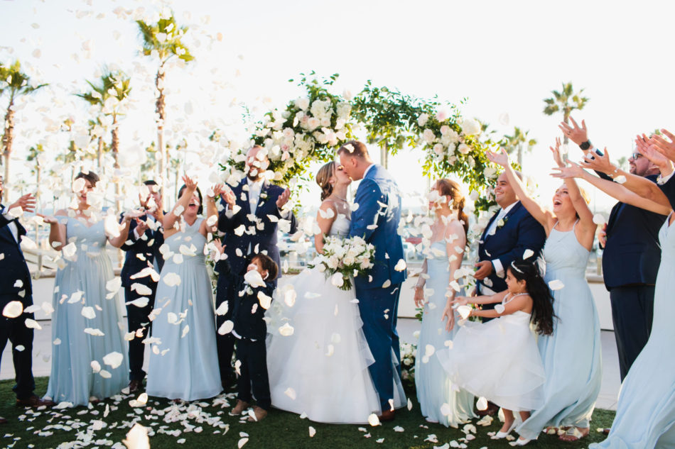 classic blue hued wedding, beautiful coastal wedding, first kiss, newlyweds, floral design, florist, wedding florist, wedding flowers, orange county weddings, orange county wedding florist, orange county florist, orange county floral design, flowers by cina