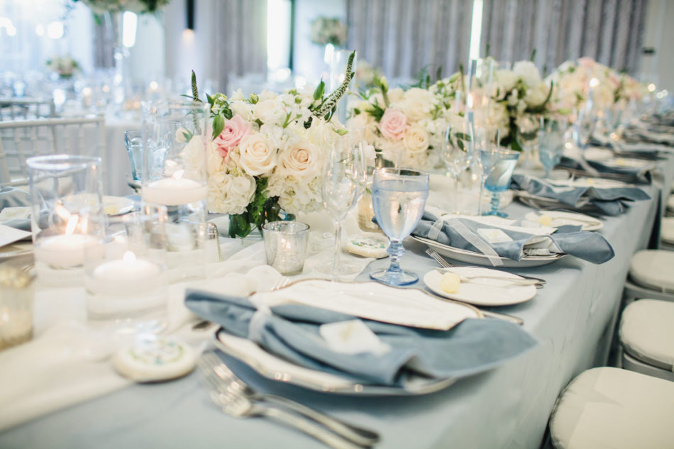 classic blue hued wedding, blue reception decor, blush centerpieces, beautiful coastal wedding, floral design, florist, wedding florist, wedding flowers, orange county weddings, orange county wedding florist, orange county florist, orange county floral design, flowers by cina