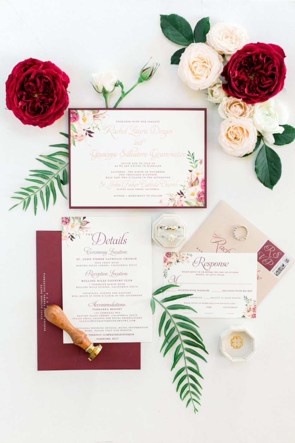 burgundy invitations, burgundy stationary, gorgeous floral-filled wedding, floral design, florist, wedding florist, wedding flowers, orange county weddings, orange county wedding florist, orange county florist, orange county floral design, flowers by cina