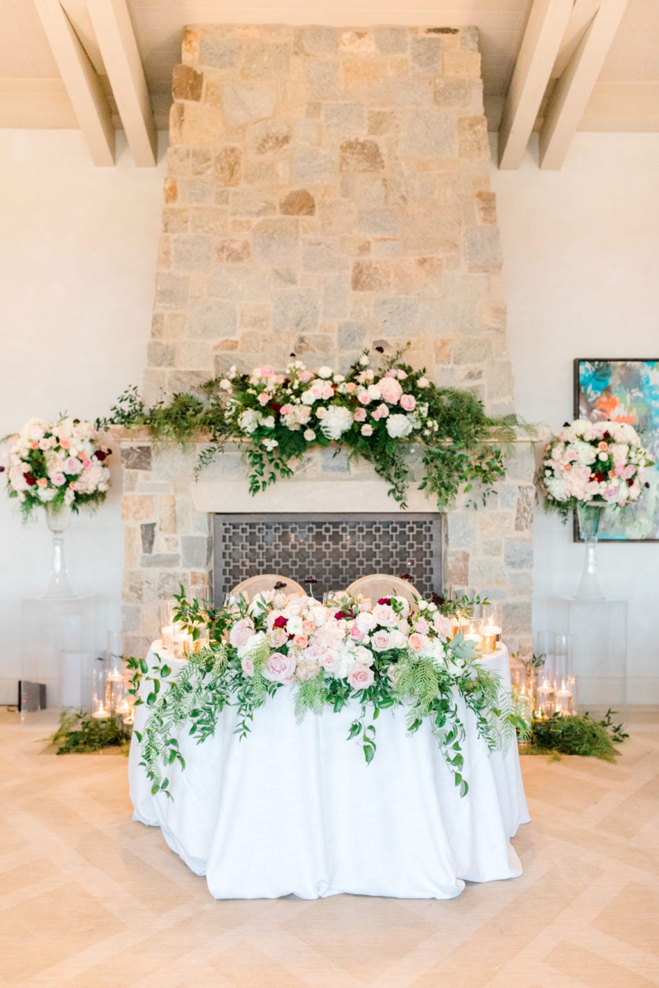 sweetheart table, blush blooms, gorgeous floral-filled wedding, floral design, florist, wedding florist, wedding flowers, orange county weddings, orange county wedding florist, orange county florist, orange county floral design, flowers by cina