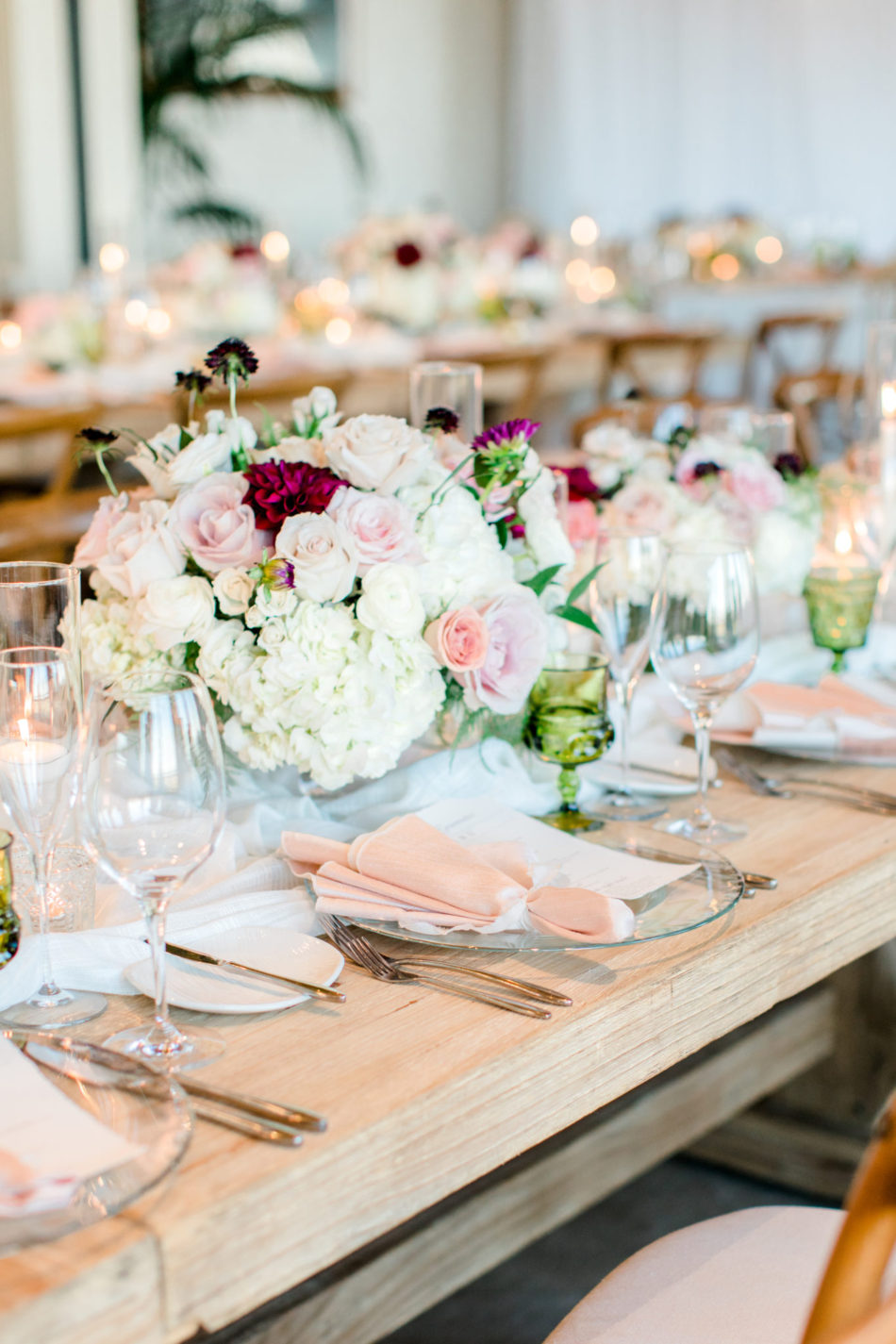 blush tablescape, blush centerpiece, gorgeous floral-filled wedding, floral design, florist, wedding florist, wedding flowers, orange county weddings, orange county wedding florist, orange county florist, orange county floral design, flowers by cina