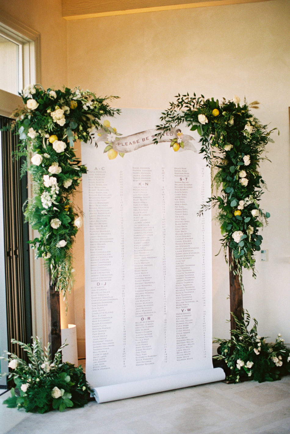 seating chart, floral-filled seating chart, european-inspired wedding, floral design, florist, wedding florist, wedding flowers, orange county weddings, orange county wedding florist, orange county florist, orange county floral design, flowers by cina