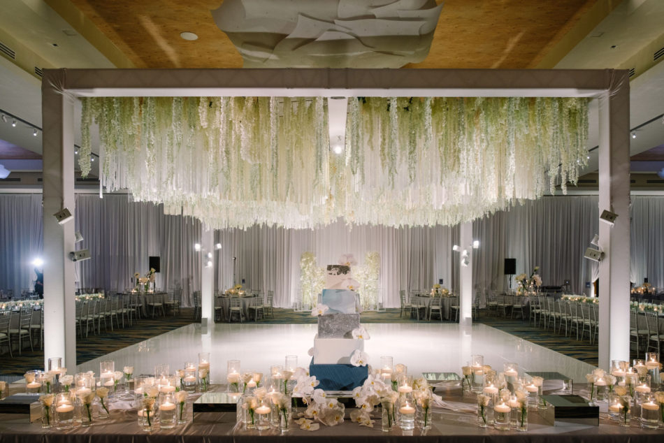 dance floor, wedding cake, floral chandelier, magnificent all-white wedding, floral design, florist, wedding florist, wedding flowers, orange county weddings, orange county wedding florist, orange county florist, orange county floral design, flowers by cina