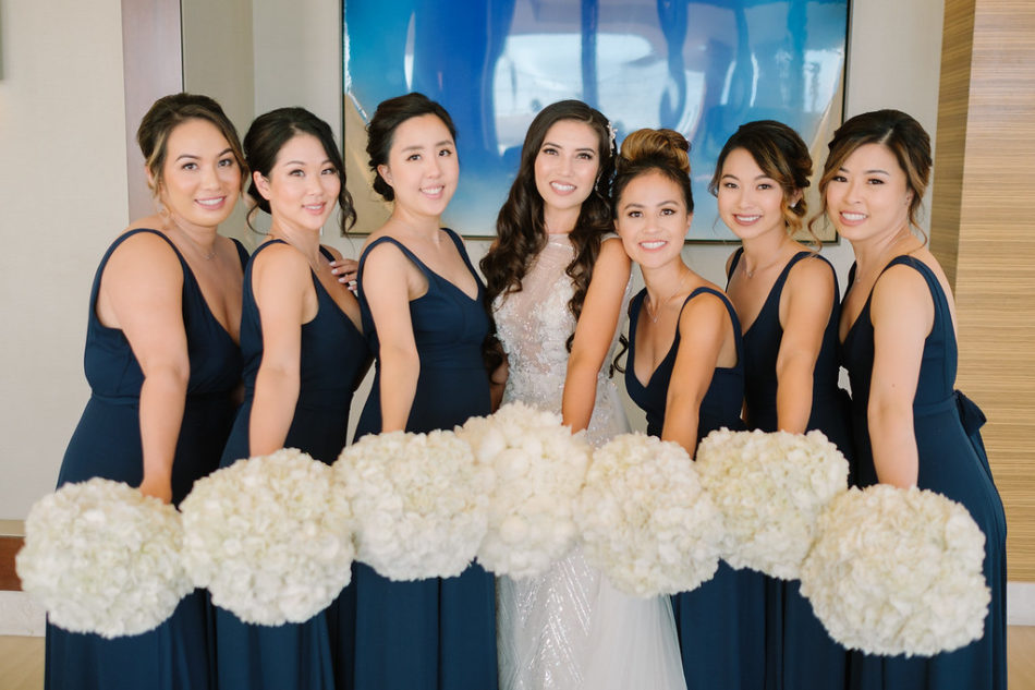 bridesmaids, white bouquets, black bridesmaids dresses, magnificent all-white wedding, floral design, florist, wedding florist, wedding flowers, orange county weddings, orange county wedding florist, orange county florist, orange county floral design, flowers by cina