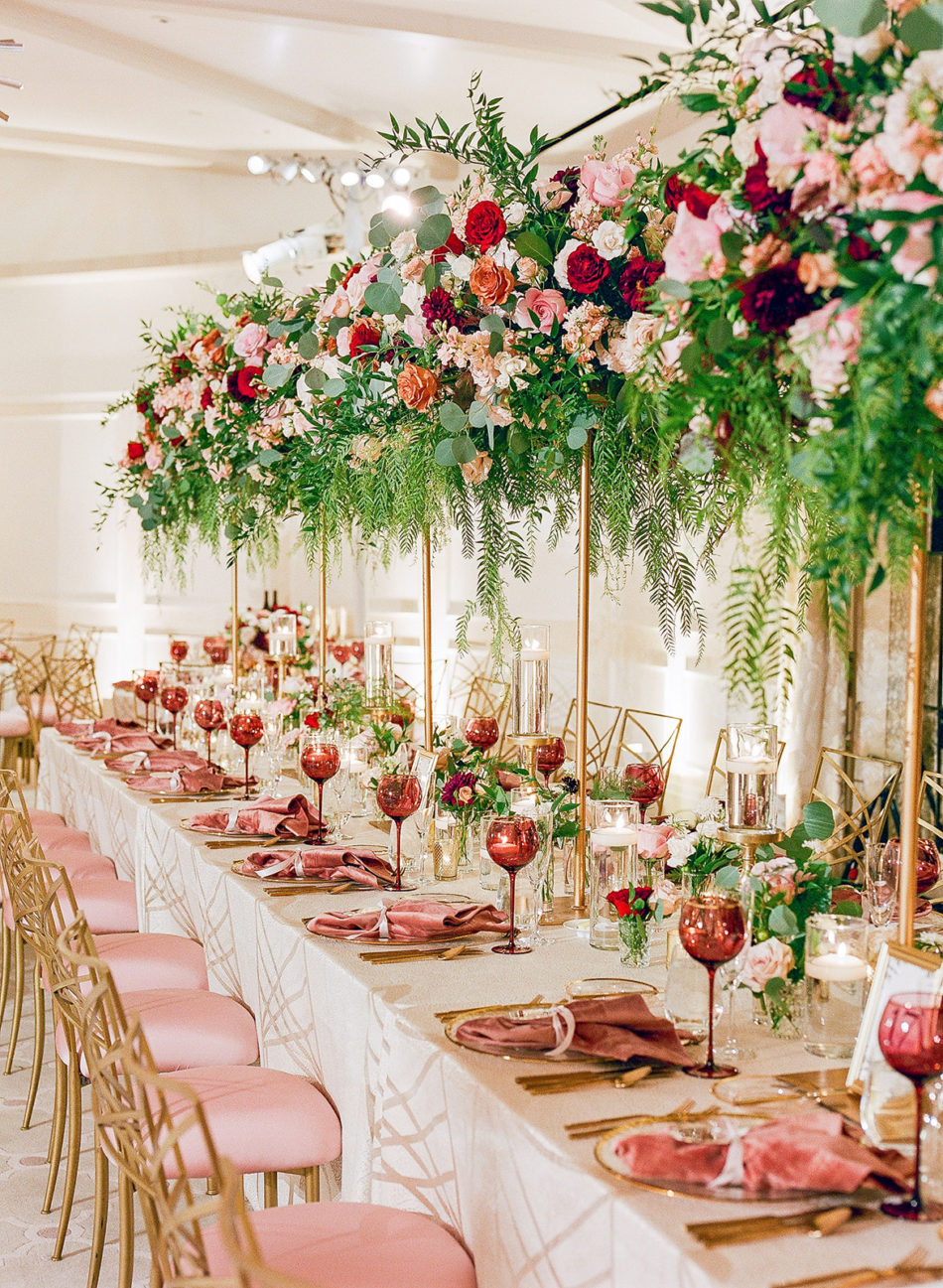 romantic beverly hills wedding, reception decor, red blooms, floral design, florist, wedding florist, wedding flowers, orange county weddings, orange county wedding florist, orange county florist, orange county floral design, flowers by cina