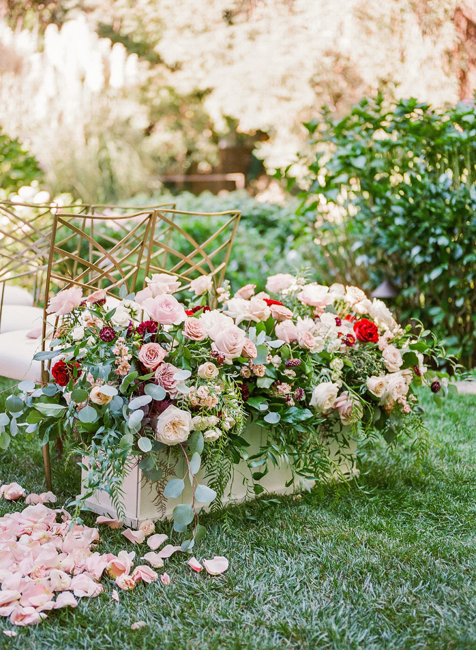 ceremony blooms, red blooms, romantic beverly hills wedding, floral design, florist, wedding florist, wedding flowers, orange county weddings, orange county wedding florist, orange county florist, orange county floral design, flowers by cina