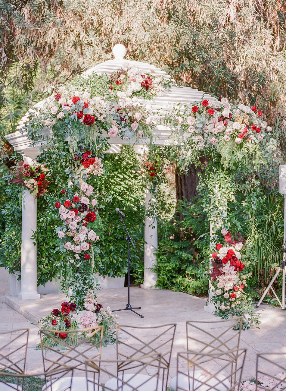 floral arch, floral-filled arch, romantic beverly hills wedding, floral design, florist, wedding florist, wedding flowers, orange county weddings, orange county wedding florist, orange county florist, orange county floral design, flowers by cina