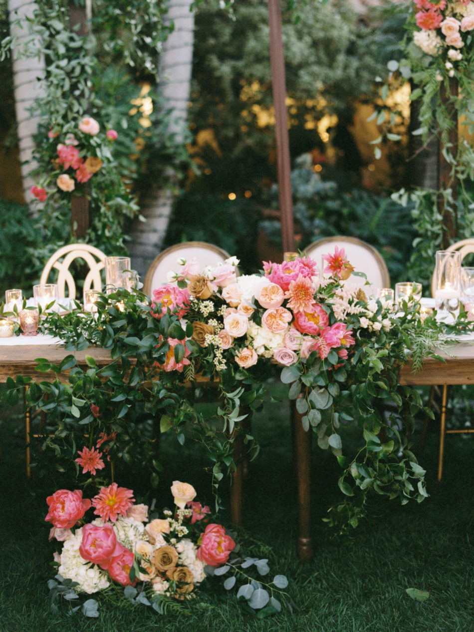 colorful sweetheart table, floral-filled sweetheart table, gorgeous alfresco reception, floral design, florist, wedding florist, wedding flowers, orange county weddings, orange county wedding florist, orange county florist, orange county floral design, flowers by cina