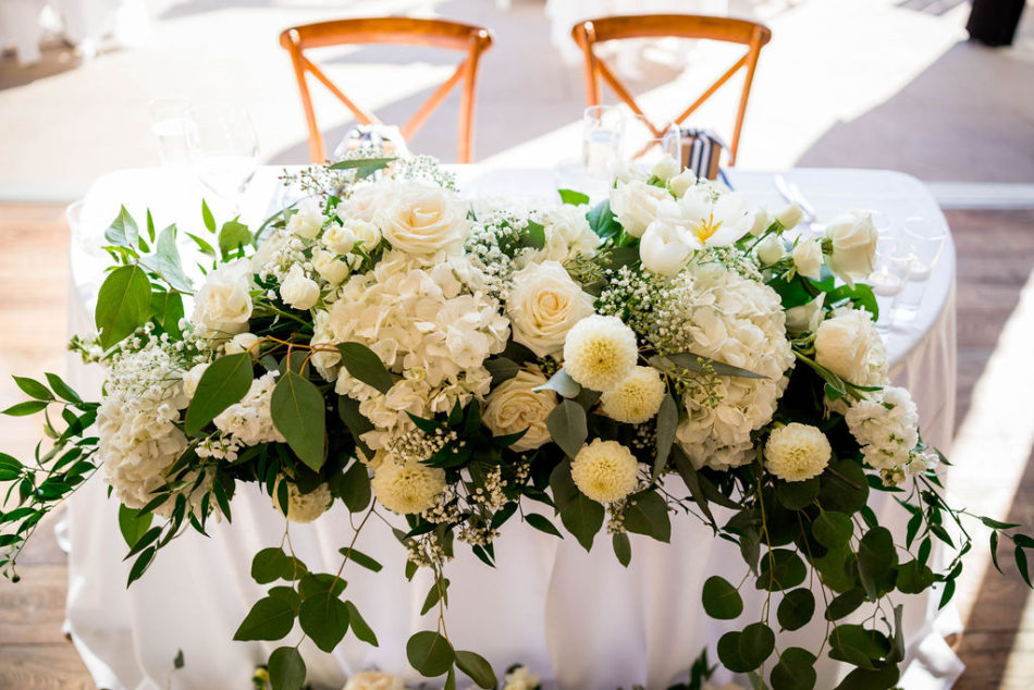 sweetheart table, white blooms, ethereal white wedding, florist, wedding florist, wedding flowers, orange county weddings, orange county wedding florist, orange county florist, orange county floral design, flowers by cina