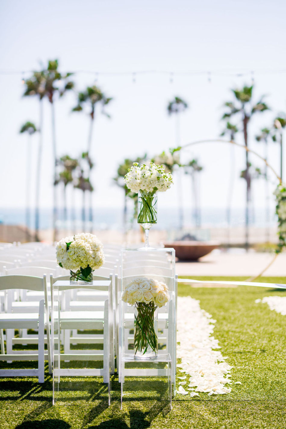 white ceremony florals, petalfilled aisle, ethereal white wedding, florist, wedding florist, wedding flowers, orange county weddings, orange county wedding florist, orange county florist, orange county floral design, flowers by cina