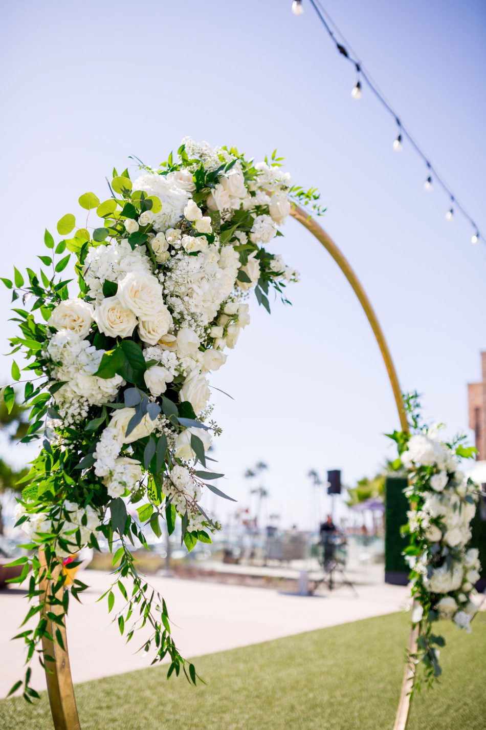 ceremony florals, floral arch, ethereal white wedding, florist, wedding florist, wedding flowers, orange county weddings, orange county wedding florist, orange county florist, orange county floral design, flowers by cina