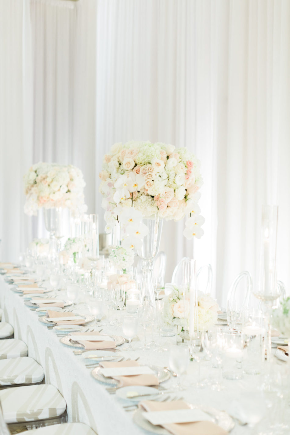 elevated centerpiece, white and blush blooms, romantic all-white wedding, floral design, florist, wedding florist, wedding flowers, orange county weddings, orange county wedding florist, orange county florist, orange county floral design, flowers by cina