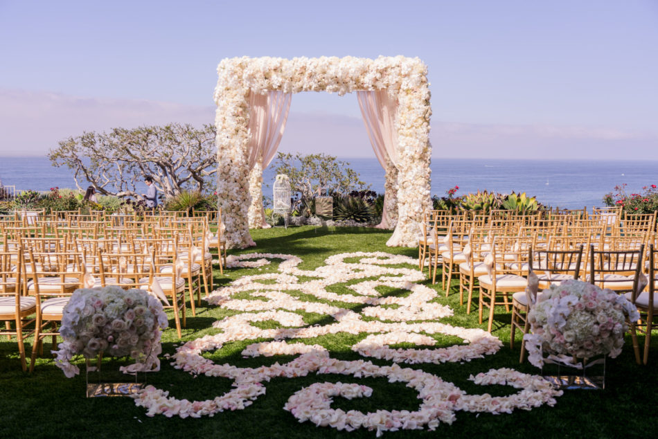 petal-filled aisle, blush ceremony structure, dreamy seaside wedding, floral design, florist, wedding florist, wedding flowers, orange county weddings, orange county wedding florist, orange county florist, orange county floral design, flowers by cina
