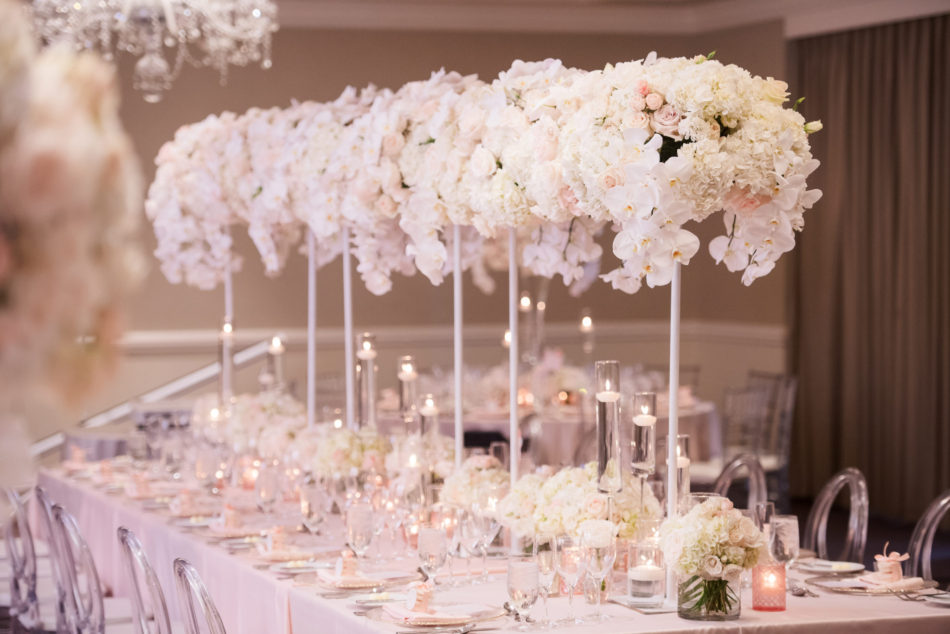 elevated centerpieces, blush centerpieces, dreamy seaside wedding, floral design, florist, wedding florist, wedding flowers, orange county weddings, orange county wedding florist, orange county florist, orange county floral design, flowers by cina