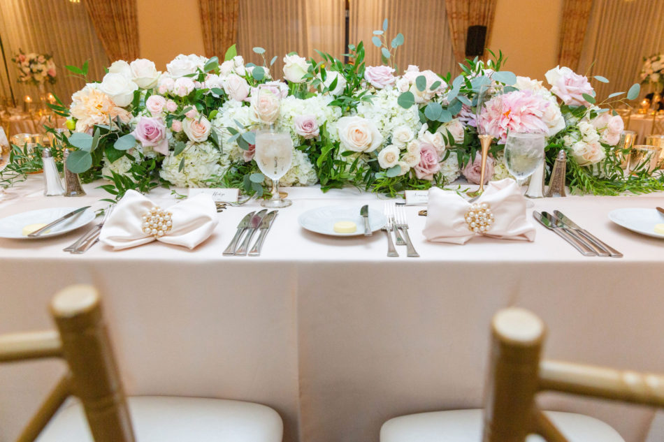blush sweetheart table, blush reception blooms, romantic pastel wedding, floral design, florist, wedding florist, wedding flowers, orange county weddings, orange county wedding florist, orange county florist, orange county floral design, flowers by cina